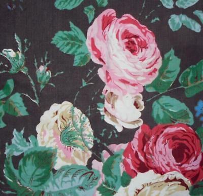 BEAUTIFUL FRAGMENT c1930s CENTURY FRENCH COTTON PRINT, ROSES, PROJECTS,REF 1.
