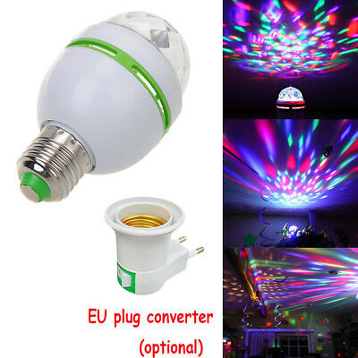 E27 3W LED Rotating RGB Bulb Crystal Ball Light Party Stage Club DJ Disco Lamp