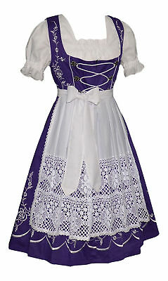 Dirndl Oktoberfest German Party Garden LONG Dress EMBROIDERED /3 Pc COMPLETE SET