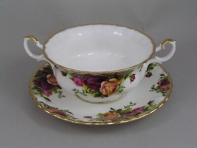 Royal Albert Old Country Roses Soup Coupe And Saucer.