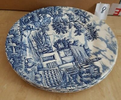 """Set of 3 The Hunter By Myott. Blue/white Dinner Plates 10"""" Excellent Condition"""