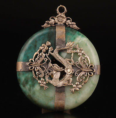 Tibetan Silver Jade Pendant Old Sacred Dragon Crafts Collection