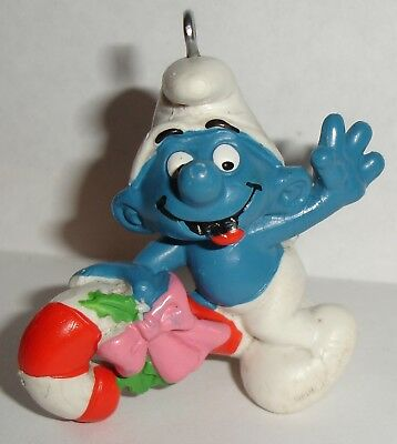 Smurf Ornament   Vintage Schleich  Nice Condition Smurf Riding Candy Cane