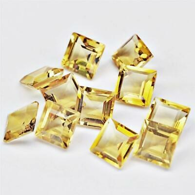 Wholesale Lot of 7mm Square Cut Natural Citrine Loose Calibrated Gemstone