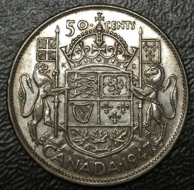 Old Canadian Coin 1947 Curved 7 50 Cents 800 Silver George Vi