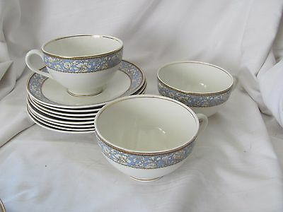 Grindley England blue Sefton lot 3 cups 6 saucers