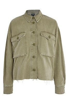 Topshop Khaki Raw Hem Shacket Size Small In Store Now!!