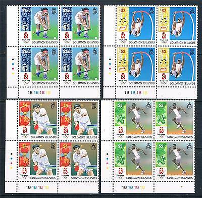 Solomon Is 2008 Beijing Olympics PLATE BLOCKS SG1246/49 MNH