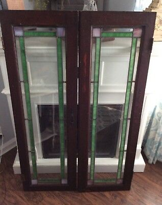 2 Antique Stained Leaded Glass Cabinet Doors / Windows Architectural Salvage