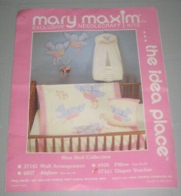 BLUE BIRD Collection DIAPER STACKER Vintage NEEDLECRAFT KIT by MARY MAXIM
