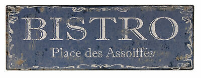 40cm Long Blue Shabby Vintage Chic French Bistro Restaurant Metal Sign Plaque