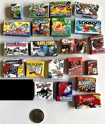 Dollhouse Miniature Game Boxes - Choice of 3 - 1:12 Scale