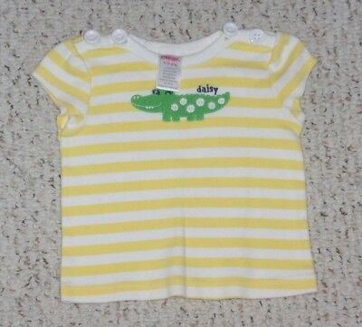 """Daisy"" Yellow & White Gymboree S/S Top w/ Alligator, Daisy Days, 6-12 months"