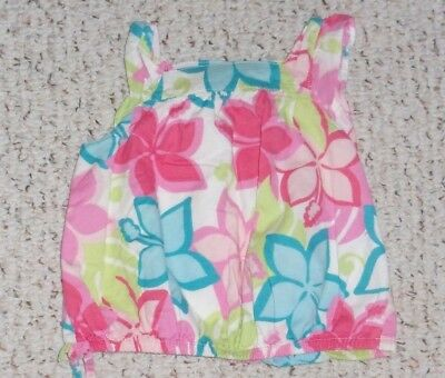 White Gymboree S/S Top w/ Flowers, Island Fun, Size 12-18 months, VGUC