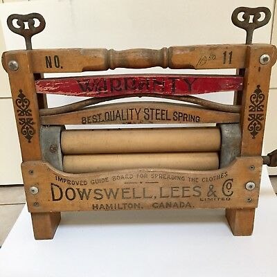 Antique Dowswell, Lees & Co. Wooden Clothes Wringer Great Graphics