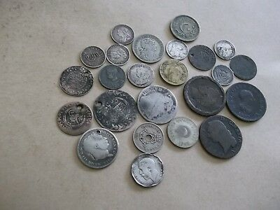 JOB LOT OF OLD COINS MOSTLY METAL DETECT FINDS WITH GOOD SILVER  99p TTA 4