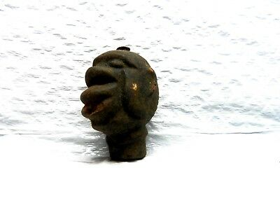 "Extremely Rare African Tribal head figure finial heavy Iron?? 2.5"" topper"