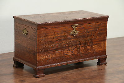 Chinese Vintage Carved Trunk, Blanket or Dowry Chest or Coffee Table #28959