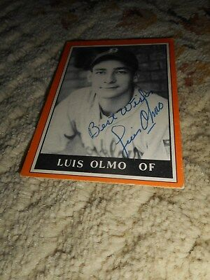 Luis Olmo Signed Baseball Card Brooklyn Dodgers Sports Autograph Signature