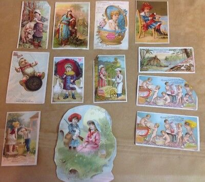 1880's Victorian Trade Cards, Lot Of 12, Advertising Ephemera, Children, Misc.