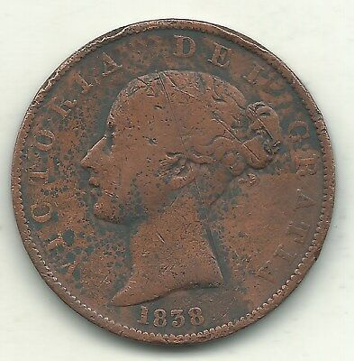 A Nice Vintage Details 1838 Great Britain English 1/2 Half Penny Cent-May321