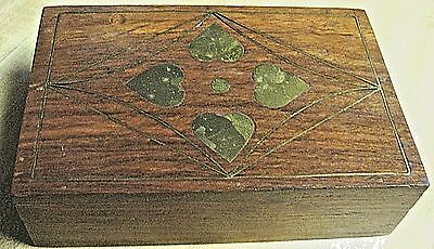 VINTAGE Hand Crafted BOX - WOOD w/Inlaid BRASS HEARTS BOX - INDIA Sticker
