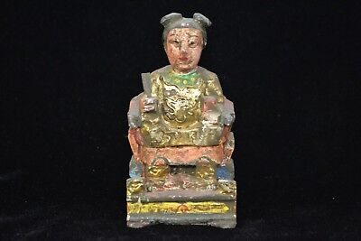Collectible Vintage Chinese Old wood Handwork Carve immortal figure rare statue