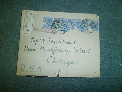 Hong Kong 1934 Multi Stamp Registered Cover To Us