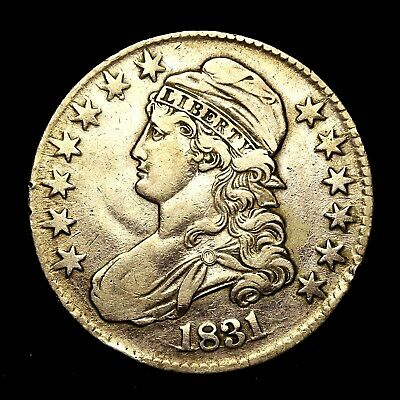 1831 ~**HIGHER GRADE**~ Silver Capped Bust Half Dollar Antique US Old Coin! #K43