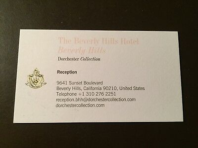 Beverly Hills Hotel and Bungalows Reception business card- Beverly Hills, Ca