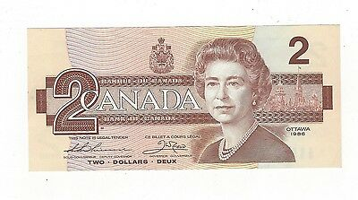 **1986**Canada $2 Note, Thiessen/Crow SN # AUL 4955172 BC-55b