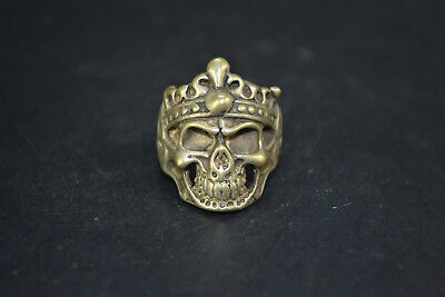 Vintage chinese Collectible handwork Old Tibet Silver fierce skull man Ring
