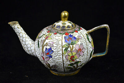 Chinese Culture Style Old cloisonne carve flower vintage Exquisite rare Teapot