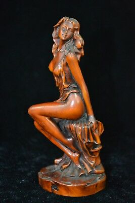 Chinese Collectible Vintage Old boxwood Hand Carved shy belle noble statue