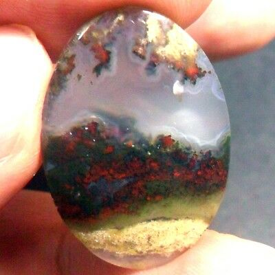 18ct AAA NATURAL Green Brown RED GARDEN MOSS AGATE ~3-dimensional PICTURE~