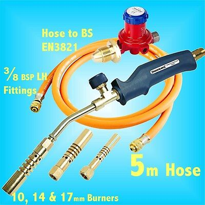 PROPANE BRAZING & SOLDERING GAS BLOW TORCH KIT 5m Hose burner metal heating bend