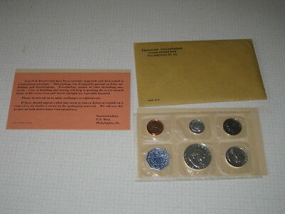 "1963 U.S. Mint ""P"" Silver Proof Coin Set BROWN ENVELOPE 5 Coins Set w/COA"