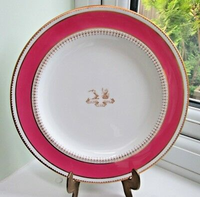 Antique Simcoe Family History Armorial Coat Of Arms Brownfield - Stoke -Plate