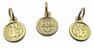 Saint St Benedict Medal Gold Plate Evil Protection Pendant, Lot of 3, 1/2 Inch