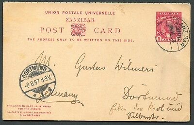 Zanzibar 1897 1a+1a postal stationery reply card (complete) P.8 used to Germany