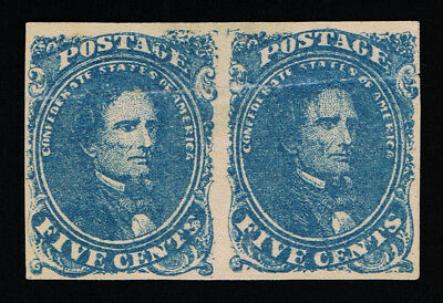 Genuine Confederate Csa Scott #4 Pair Stone-2 Plated To Postion 12-13 Mint Ng