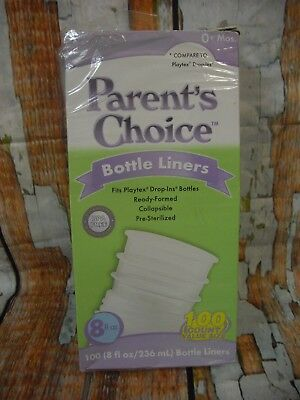 Parent's Choice 96 Pre-Sterilized Disposable Liners 8 Oz Bottle Liners 0+ Month