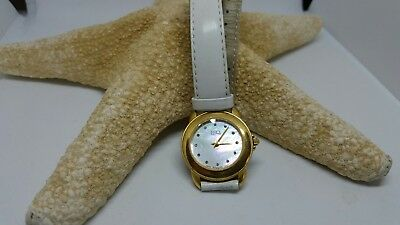ESQ Esquire by Movado WHITE MOTHER OF PEARL AND CRYSTAL GOLD TONE WATCH LEATHER