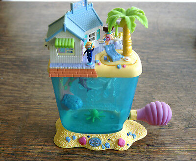 Mini Polly pocket ** Aquarium Dolphin Island Set Strandhütte+ 2 Fig.