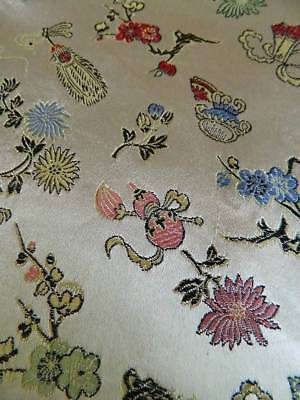 Antique early 20th century French Lyon silk brocaded lampas fabric  almost 2 yds