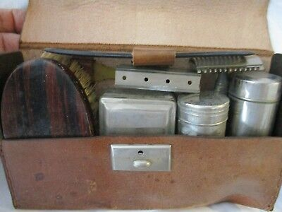 Vintage Gentlemen's travel kit leather aluminum brush shaving toothbrush