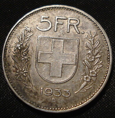 Switzerland 1933 Silver 5 Francs Crown Nice Collectible Coin