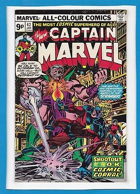 """Captain Marvel #42_Jan 1976_Nm Minus_""""shoot-Out At The Ok Cosmic Corral""""_Uk!"""