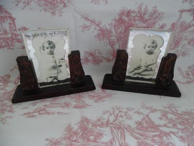 Pair Of Petite Vintage French Picture Or Photo Frames / Stands