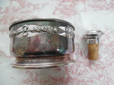 VINTAGE FRENCH SILVER PLATED WINE BOTTLE COASTER AND STOPPER- Cabbage Roses
